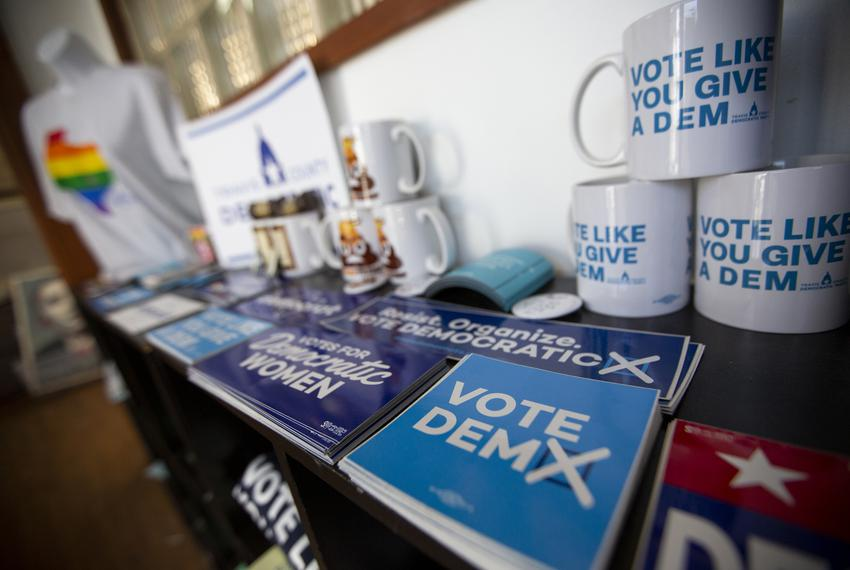 Democratic mugs, stickers and buttons on display at the Travis County Democratic Party office in Austin.