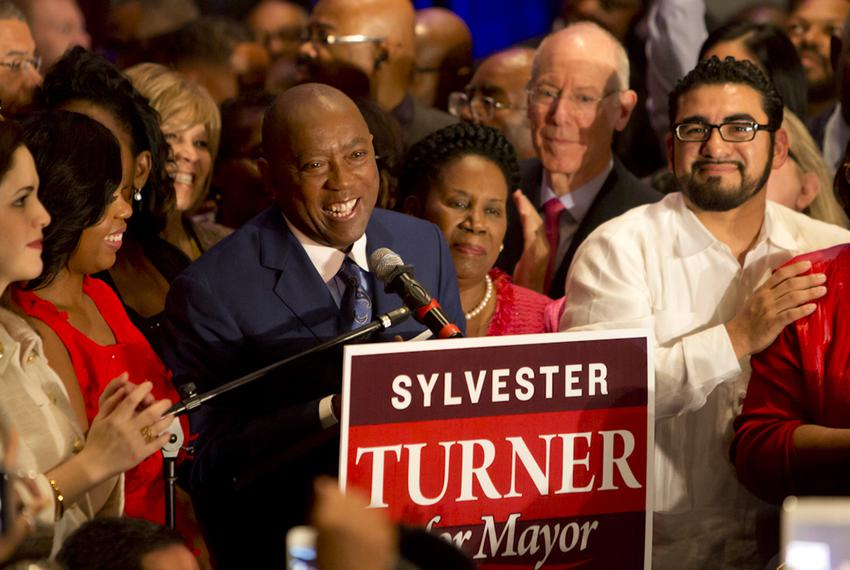 Rep. Sylvester Turner speaks to crowd on election night. Turner narrowly defeated opponent Bill King in a runoff to be elect…