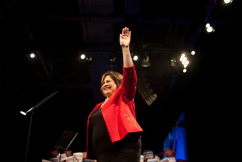 State Sen. Leticia Van de Putte waves to the delegates at the 2014 Texas Democratic Convention held at the Dallas Conventi...