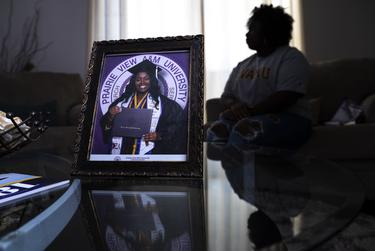 A portrait of Jayla Allen, 22, on her graduation day at Prairie View A&M University in 2019 at her family's home in Mesquite on Jan. 13, 2021. Allen is the lead plaintiff in a lawsuit alleging Waller County acted unconstitutionally against PVAMU students and violated Black voters' federal protections.