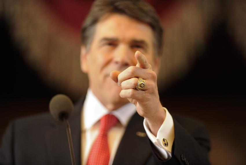 Gov. Rick Perry delivering his seventh State of the State speech on Jan. 29, 2013.