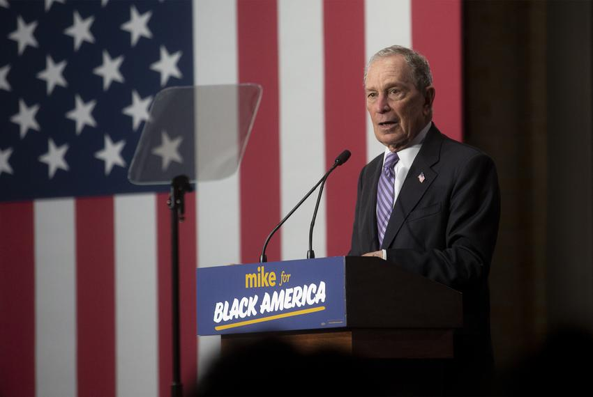 Democratic presidential candidate Mike Bloomberg speaks to supporters during a campaign event at the Buffalo Soldier Museu...