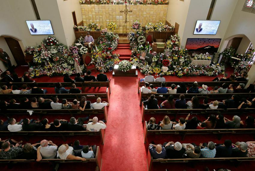 Over 500 floral were sent to Margie Reckard        s funeral at La Paz Faith Center in El Paso, Texas Friday, August, 16, 20…