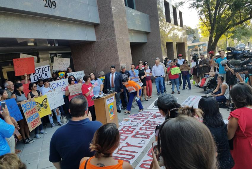DACA supporters held a press conference in front of the Texas Attorney General's Office in Austin on Tuesday, Sept. 5, 2017,…