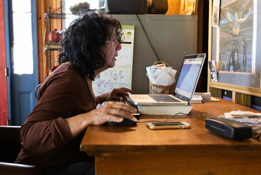 Diane Wilson scrolls through thousands of photos she's taken of Formosa's plastic pollution over the past three years. Sea...