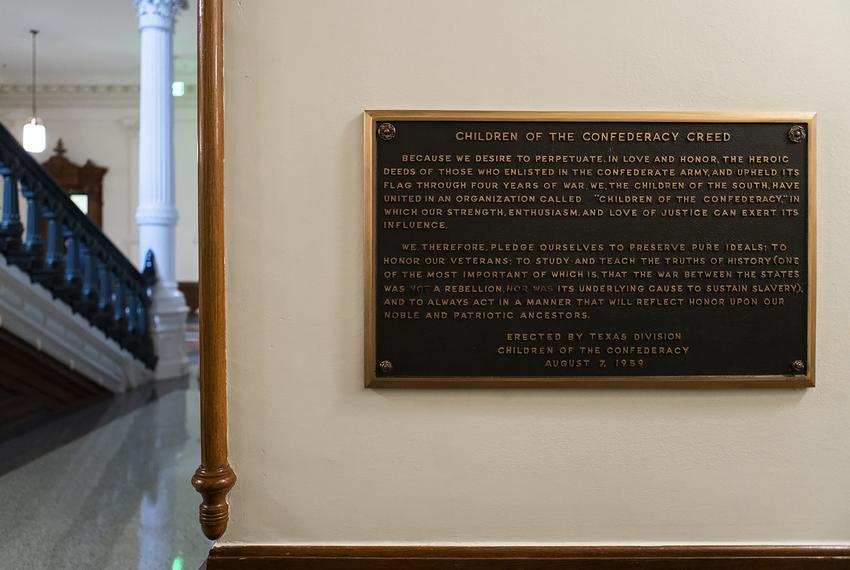 "The ""Children of the Confederacy"" plaque hangs on a wall on the first floor of the eastern side of the Capitol building."
