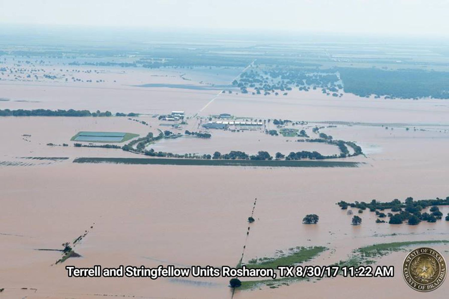 Here's a look at an aerial view of flooding from Hurricane Harvey at the Texas Department of Criminal Justice's Terrell and Stringfellow units in Brazoria County on Aug. 30, 2017.