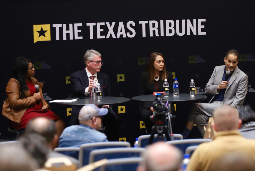 The Texas Tribune hosted a panel on opioid abuse in Texas in Arlington on Dec. 5, 2018. Left to right: moderator and Tribu...