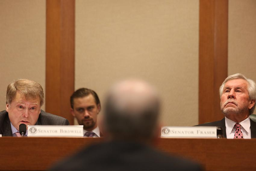 State Sens. Brian Birdwell, R-Granbury, and Troy Fraser, R-Horseshoe Bay, listen to testimony at a Senate Committee on Sta...
