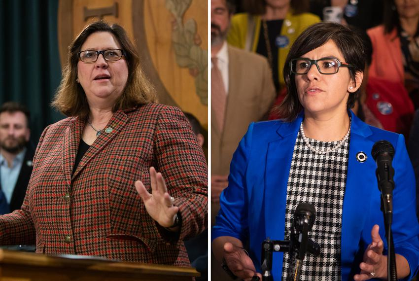 From left, Democratic state Reps. Julie Johnson and Jessica González.