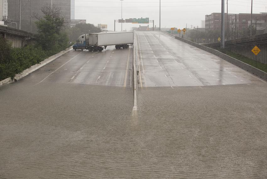 Part of Interstate 45 underwater in downtown Houston on Sunday afternoon, Aug. 27, 2017.