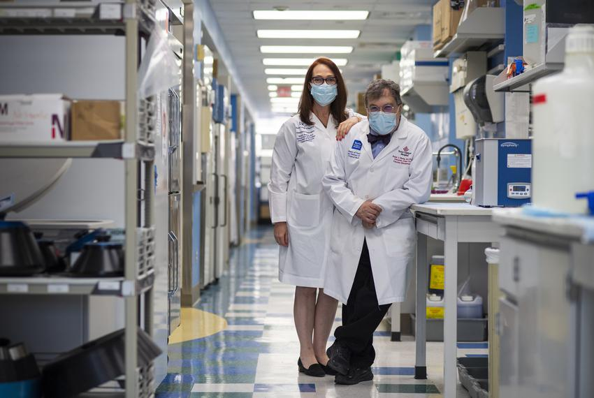 Maria Bottazzi, left, and Peter Hotez at the Tropical Medicine Lab at Texas Children's Hospital Center for Vaccine Developme…