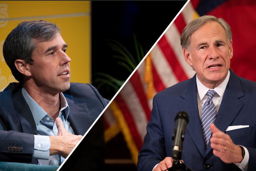 Former U.S. Rep. Beto O'Rourke, D-El Paso, and Gov. Greg Abbott.