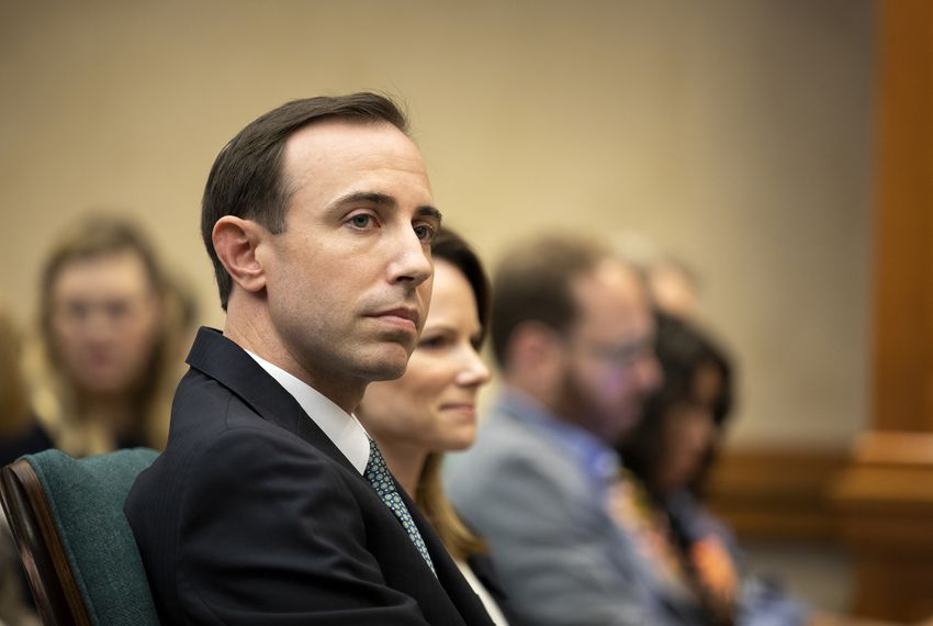 Texas Secretary of State David Whitley at a state Senate Committee on Nominations hearing on Feb. 7, 2019. Whitley was appointed to the job by Gov. Greg Abbott, but Whitley must first clear the committee, then win a two-thirds vote in the full Texas Senate.