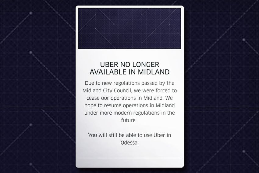 A screenshot of the Uber app in Midland, provided by Public Information Officer Sara Bustilloz.