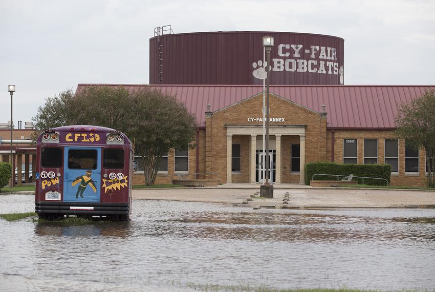 A school in the Cypress-Fairbanks Independent School District northwest of Houston still surrounded by water on Wednesday ...