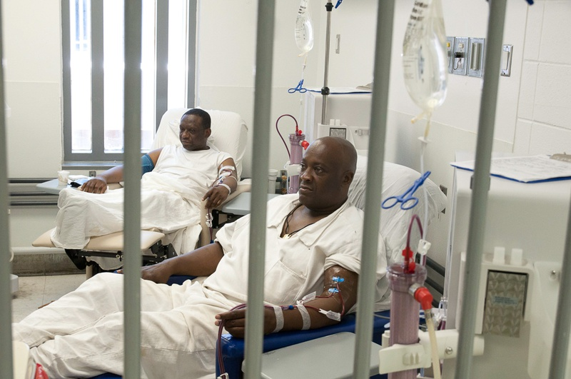 Inmates at a medical facility at The Estelle Unit in Huntsville.