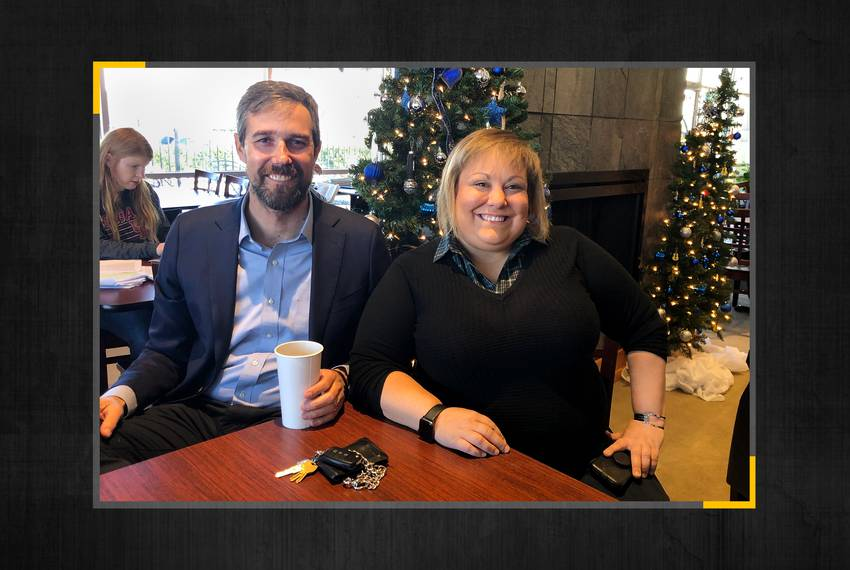 Beto O'Rourke with Dr. Eliz Markowitz, Democratic candidate for Texas House District 28, in Houston on Dec. 17, 2019.