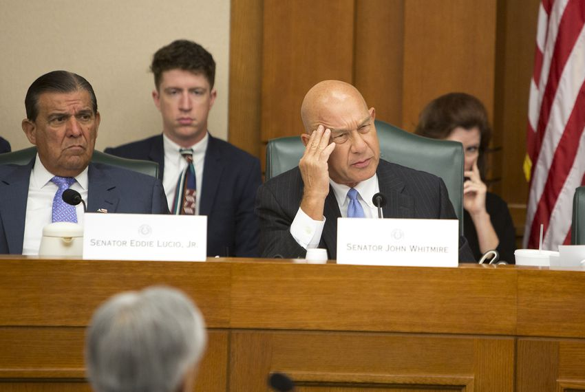 State Sen. John Whitmire, D-Houston, listens to testimony during a Senate Select Committee on Violence in Schools and School Security hearing on July 18, 2018.