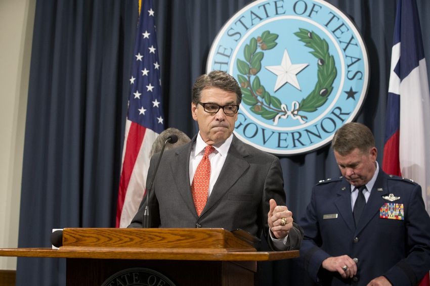 Criticizing a lack of federal response on border issues, Governor Rick Perry announces deployment of up to 1,000 National Guard troops to the Texas-Mexico border on July 21, 2014.