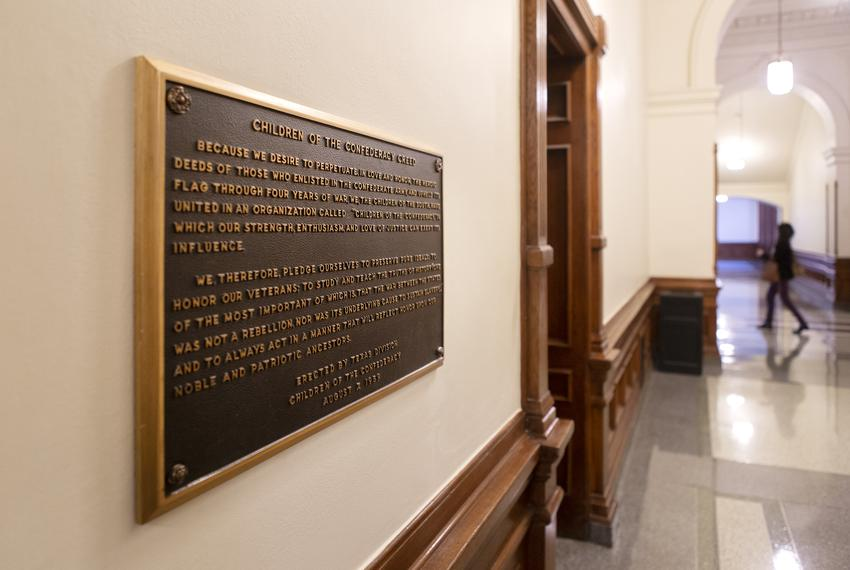 "The ""Children of the Confederacy Creed"" plaque has drawn controversy for its denial that preserving slavery was an underlyin…"