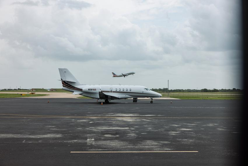 Private charter planes at Austin-Bergstrom International Airport on July 12, 2021. Democratic lawmakers booked charter fligh…