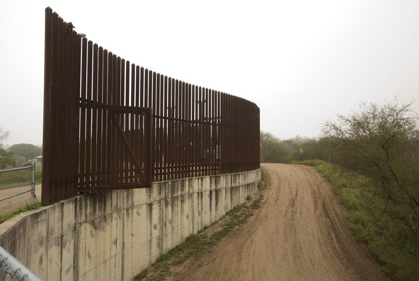 A section of border wall inside the Old Hidalgo Pumphouse Museum and World Birding Center in Hidalgo.