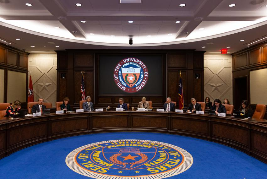 University administrators at a Board of Regents meeting in Austin on April 2, 2019.