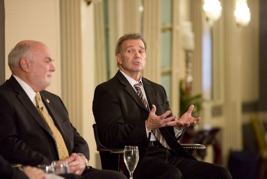 State Sen. Robert Nichols R-Jacksonville, and state Rep. Joe Pickett, D-El Paso, speak at a Texas Tribune event on April 7, 2015.