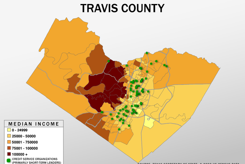 Payday Lenders Cluster in Low-Income Areas | The Texas Tribune on map of texas geographical areas, map of texas water sources, map of texas by zip code, map of texas with names, map of texas driving distances, map of texas census,