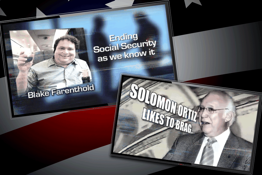 Screenshots of competing ads that ran in the 2010 congressional race between then-U.S. Rep. Solomon Ortiz and Republican challenger Blake Farenthold.