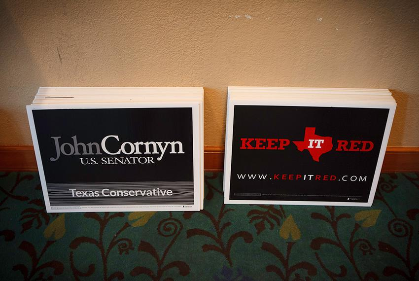 Cornyn campaign signs available at the Galveston County Republican Party's annual Liconln dinner in League City, Texas Sat...