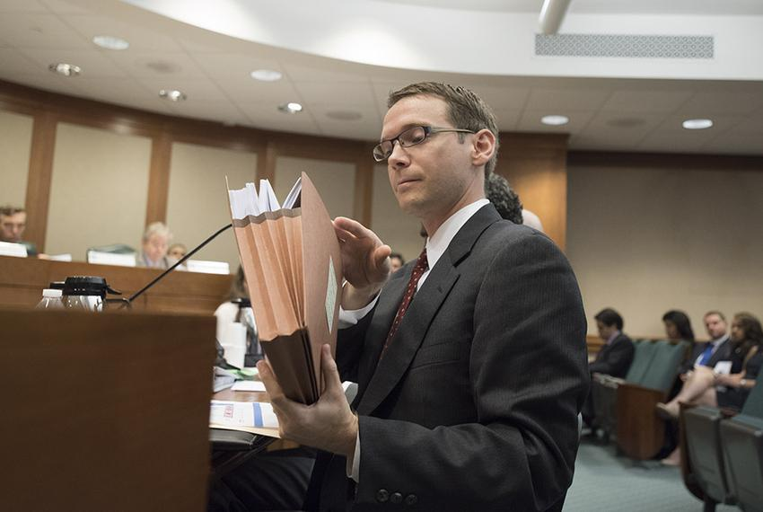 State Education Commissioner Mike Morath testifies Tuesday Aug 16, 2016 before the Senate Education Committee at the Texas...