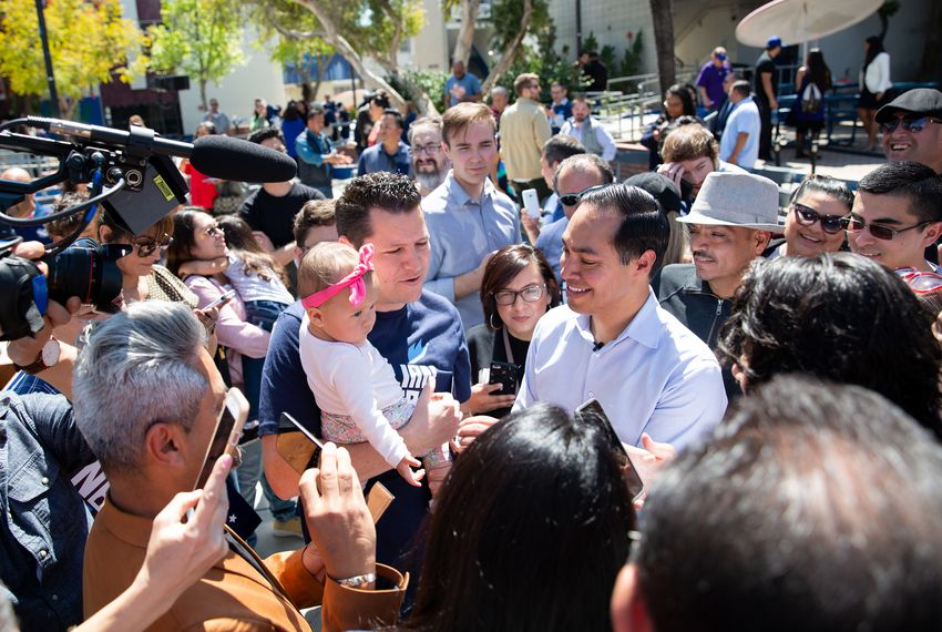 Democratic presidential candidate Julián Castro greets supporters at a rally at James Garfield High School in East Los Angeles.