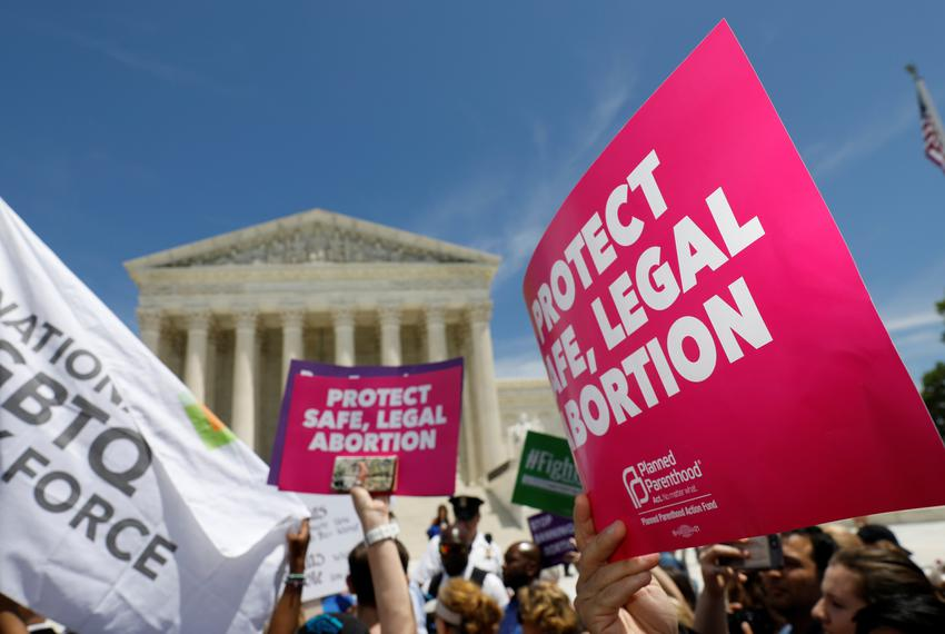 Abortion rights activists during a rally outside the U.S. Supreme Court in Washington, D.C., on May 21, 2019.