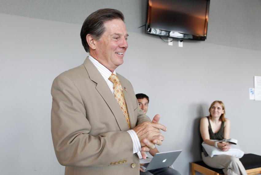 Former House Majority Leader Tom DeLay, R-Sugar Land, speaks with media at the 331st District Court of Travis County during …
