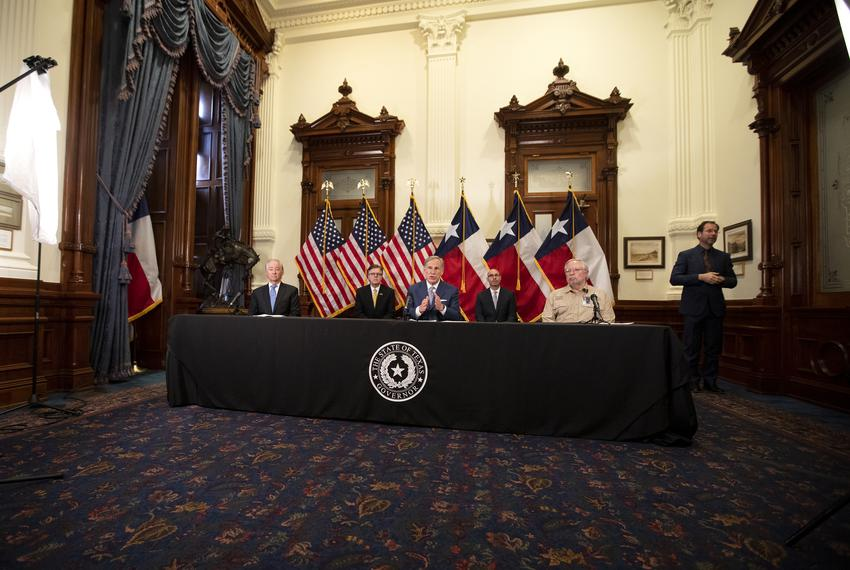 Gov. Greg Abbott announced a strike force in charge of laying steps to re-open the Texas economy at a press conference at th…
