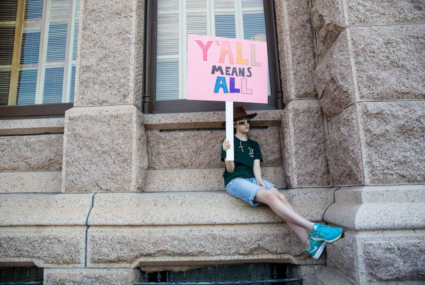 "Members of various faith communities met at the Texas Capitol on Aug. 1 to speak out against the ""bathroom bill."""