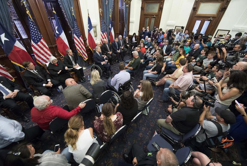 Austin, Texas USA May 24, 2018: Texas Governor Greg Abbott hosts the last Capitol panel studying school safety and student...