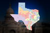 The current Texas congressional district map.