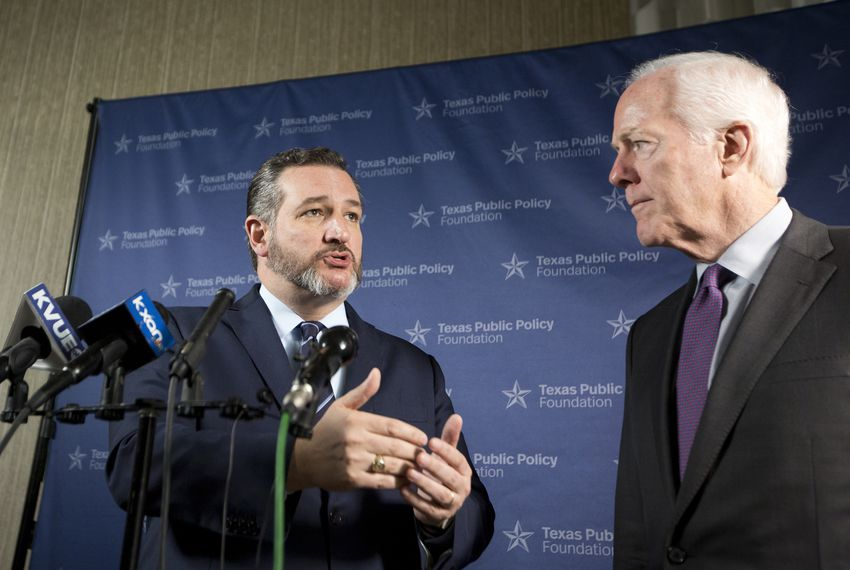 U.S. Sens. Ted Cruz (left) and John Cornyn  speak to media following the Texas Public Policy Foundation's annual policy orientation in Austin on January 11, 2019.