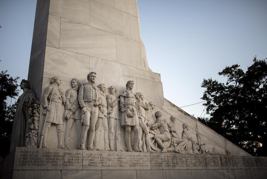 The Alamo Cenotaph at Alamo Plaza in San Antonio commemorates the Battle of the Alamo. Jan. 7, 2019.