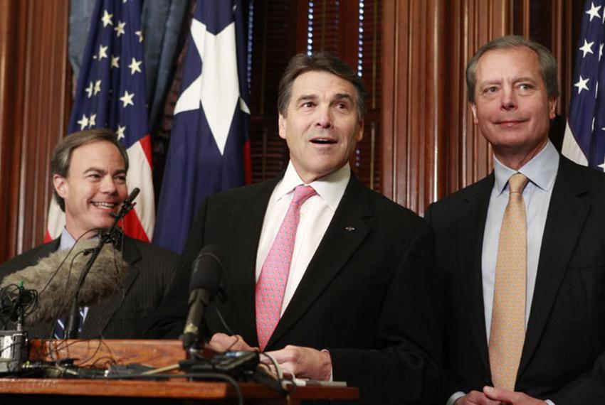 Governor Rick Perry, Speaker Joe Straus and Lt. Governor David Dewhurst after their first weekly breakfast meeting saying ...