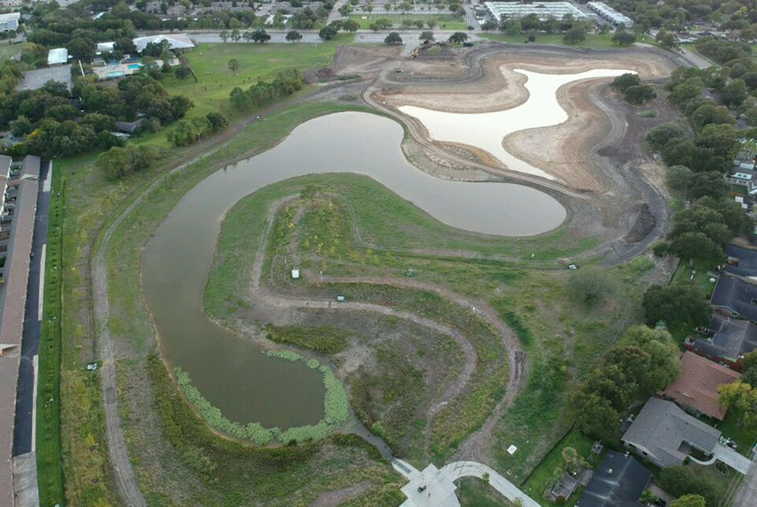 An aerial view of Exploration Green's first detention pond.