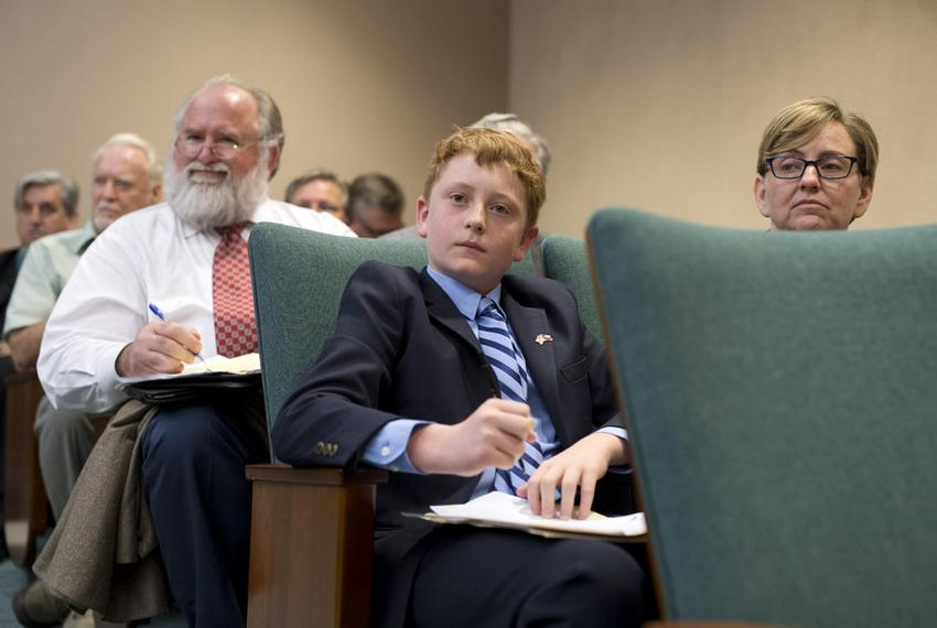 Student Jacob Hale listens to testimony on HB 1242 a Donna Howard-sponsored bill that would change the name of Confederate...