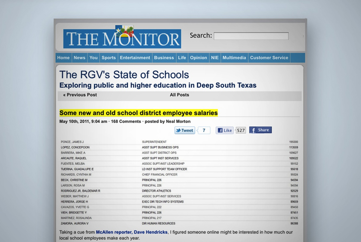 On the Records: Valley Paper Pulls Salary Data   The Texas Tribune