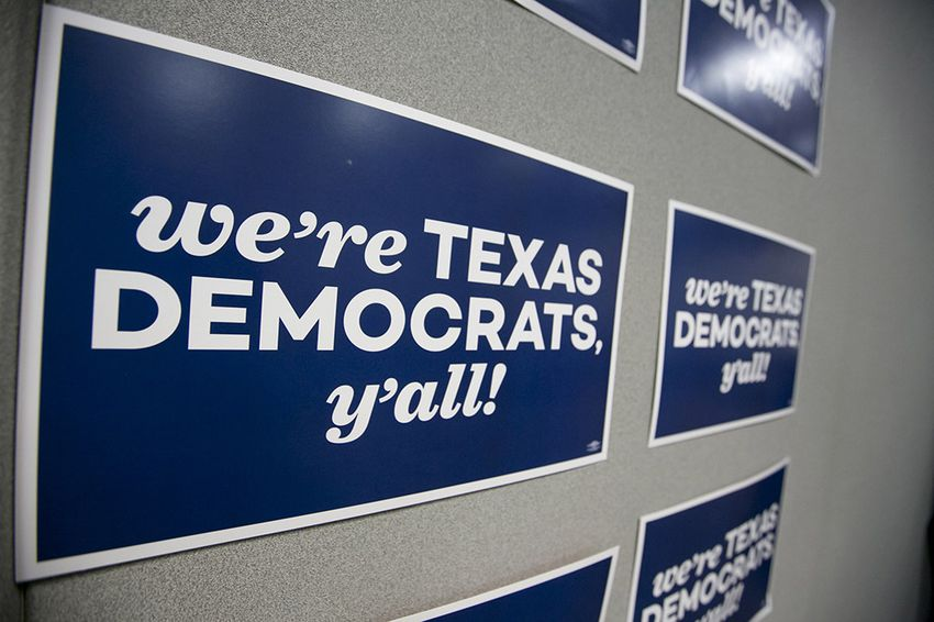 Signs at the Texas State Democratic convention in San Antonio on June 17, 2016.