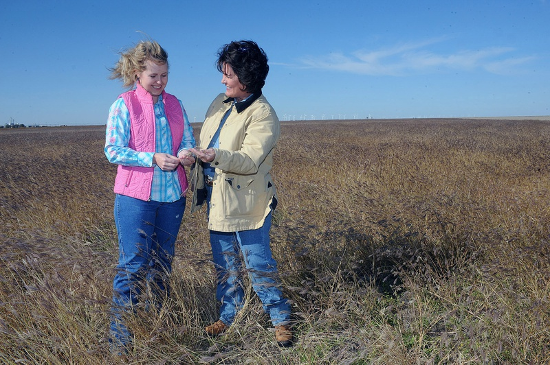Timber Barkley, left, and her mother Teresa talk while in a field planted with grass for soil conservation on their farm in Gruver. Commercial wind turbines on a neighboring property can be seen on the horizon.