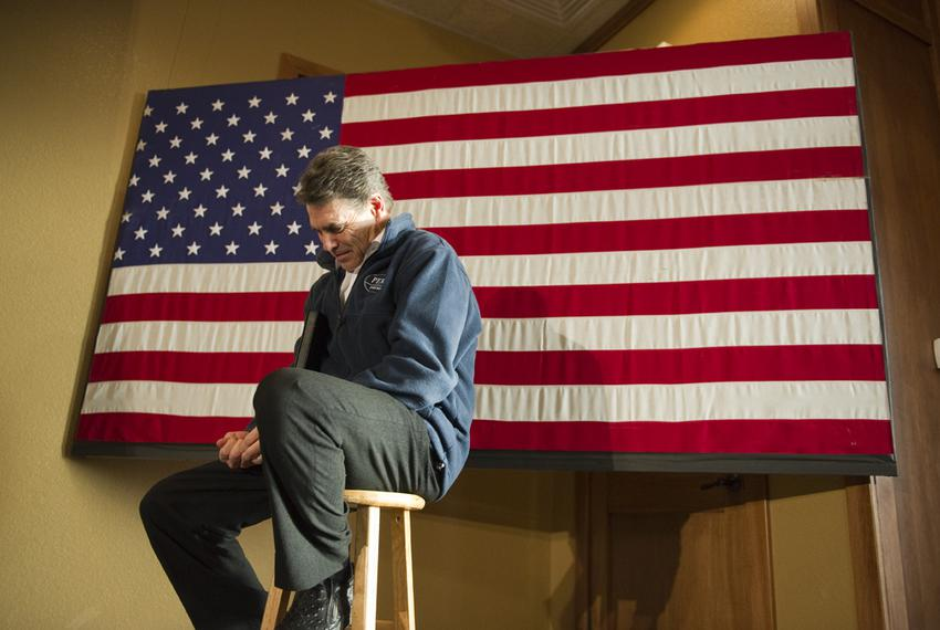Rick Perry before a speech in Carroll, Iowa, on Jan. 2, 2012.