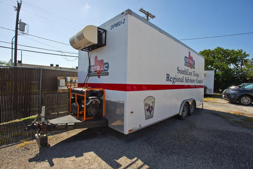 A morgue trailer, currently not in use, at the Nueces County Medical Examiner's office in Corpus Christi on July 10, 2020.